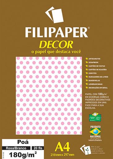 Filipaper DECOR Poá Rosa/Branco - 180g/m² A4 (20fls) - FP02672