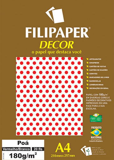 Filipaper DECOR Poá Vermelho/Branco - 180g/m² A4 (20fls) - FP02673