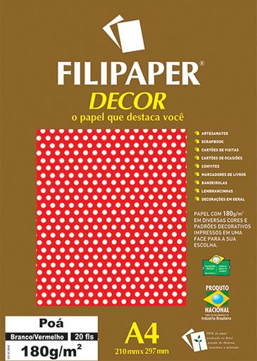 Filipaper DECOR Poá Branco/Vermelho - 180g/m² A4 (20fls) - FP02682