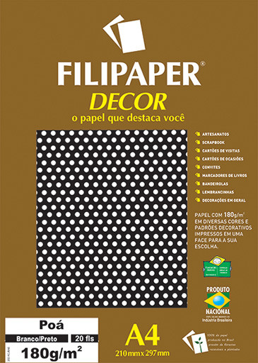 Filipaper DECOR Poá Branco/Preto - 180g/m² A4 (20fls) - FP02683