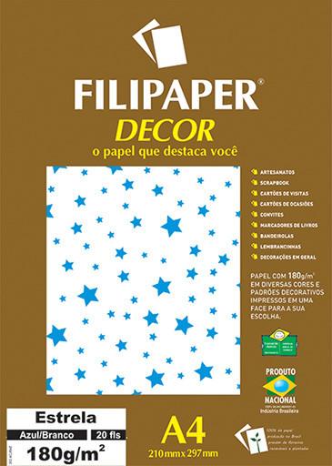 Filipaper DECOR Estrela Azul/Branco - 180g/m² A4 (20fls) - FP02687