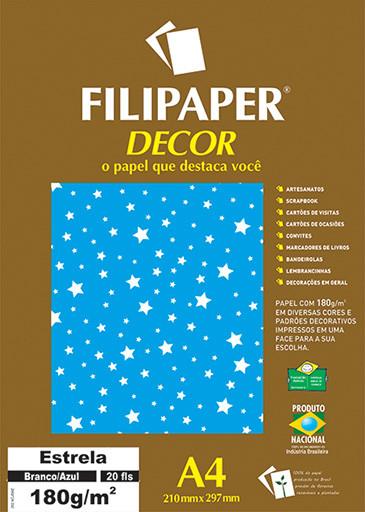 Filipaper DECOR Estrela Branco/Azul - 180g/m² A4 (20fls) - FP02695