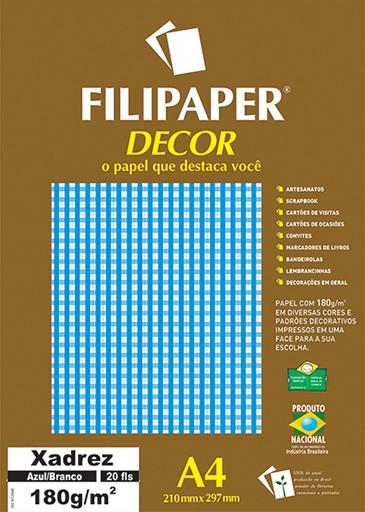 Filipaper DECOR Xadrez Azul/Branco - 180g/m² A4 (20fls) - FP02712