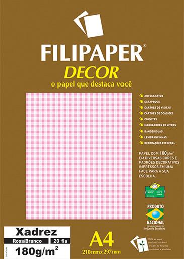 Filipaper DECOR Xadrez Rosa/Branco - 180g/m² A4 (20fls) - FP02715