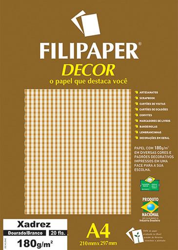 Filipaper DECOR Xadrez Dourado/Branco - 180g/m² A4 (20fls) - FP02717