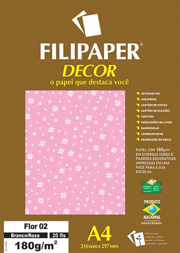 Filipaper DECOR Flor 02 Branco/Rosa - 180g/m² A4 (21cm x 29,7cm) - 20fls - FP02779