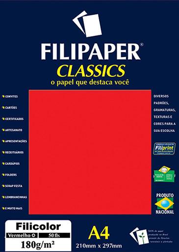 Filipaper Filicolor 180g/m² (50 folhas; vermelho) A4 - FP03414