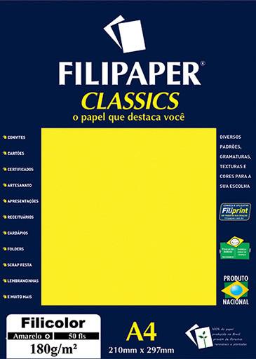 Filipaper Filicolor 180g/m² (50 folhas; amarelo) A4 - FP03415