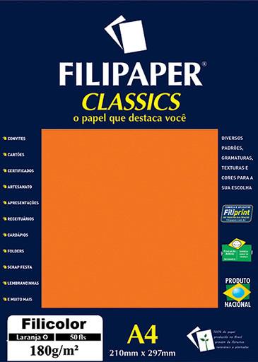 Filipaper Filicolor 180g/m² (50 folhas; laranja) A4 - FP03417