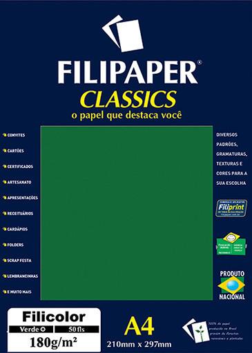 Filipaper Filicolor 180g/m² (50 folhas; verde) A4 - FP03445