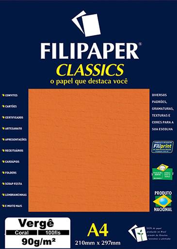 Filipaper Vergê 90g/m² (100 folhas; coral) A4 - FP03795
