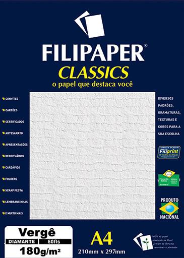 Filipaper Vergê 180g/m² (50 folhas; diamante) A4 - FP03804
