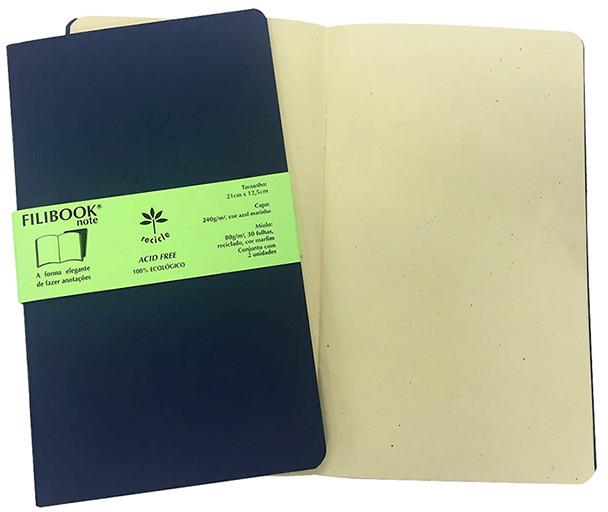 Filibook Note Azul Marinho 75gm² miolo Marfim (M) 21cm X 12,5 cm - FRETE GRÁTIS - FP00701