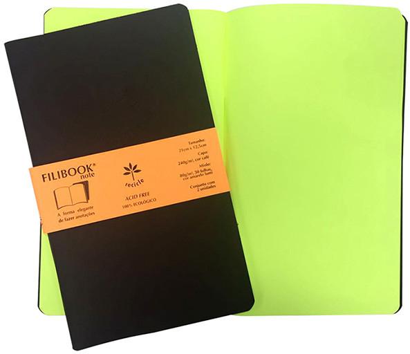 Filibook Note Café 80gm² miolo Amarelo LUMI (M) 21cm X 12,5 cm - FP00703