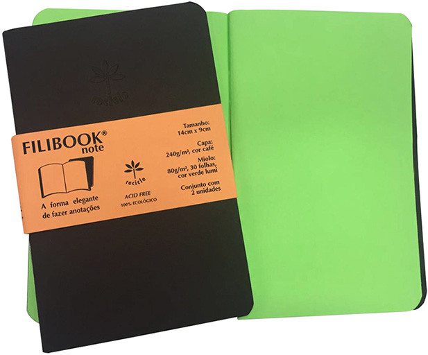 Filibook Note Café 80gm² miolo Verde LUMI (P) 14cm X 9cm - FP00708