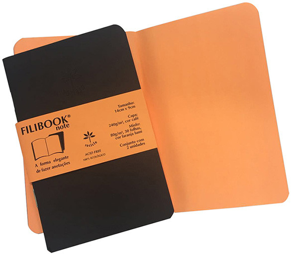 Filibook Note Café 80gm² miolo Laranja LUMI (P) 14cm X 9cm - FP00704