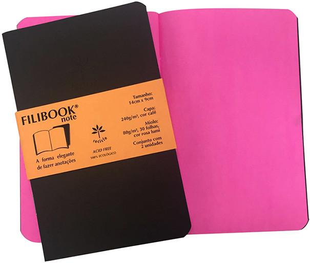 Filibook Note Café 80gm² miolo Rosa LUMI (P) 14cm X 9cm - FRETE GRÁTIS - FP00706