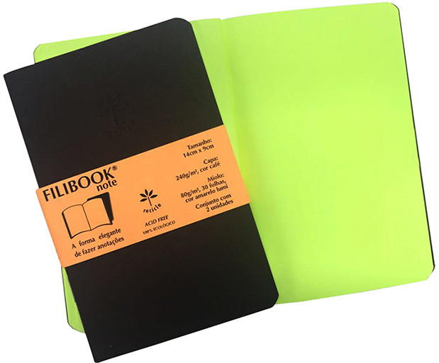 Filibook Note Café 80gm² miolo Amarelo LUMI (P) 14cm X 9cm - FP00702