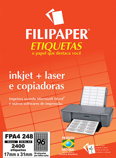 FP A4248 Filipaper Etiqueta 17X31 mm - 96 etiquetas por folha A4 25 fls - FP04450