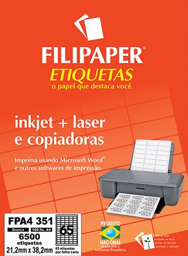 Filipaper Etiqueta 21,2x38,2 mm - FPA4 351 - 65 etiquetas por folha A4 100 fls -FP04439