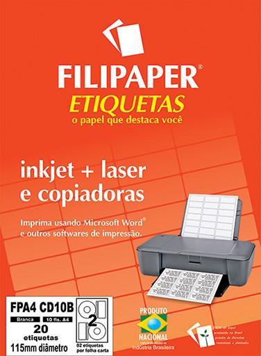 FP A4 CD10 Filipaper Etiqueta para CD - A4 115 mm 10 fls - FP04434