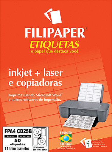 FP A4 CD25 Filipaper Etiqueta para CD - A4 115 mm 25 fls - FP04435