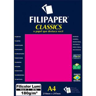 Filipaper Filicolor LUMI 180g/m² (20 folhas; Rosa) A4 - FRETE GRÁTIS - FP00906