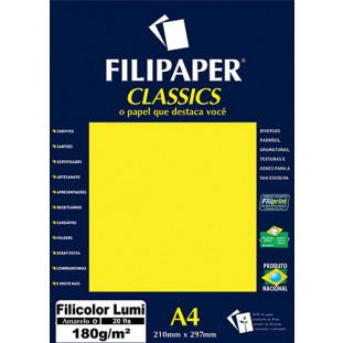 Filipaper Filicolor LUMI 180g/m² (20 folhas; amarelo) A4 - FRETE GRÁTIS - FP00908