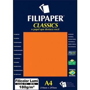 Filipaper Filicolor LUMI 180g/m² (20 folhas; Laranja) A4 - FRETE GRÁTIS - FP00909