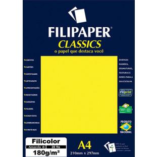 Filipaper Filicolor 180g/m² (20 folhas; amarelo) A4 - FRETE GRÁTIS - FP00912
