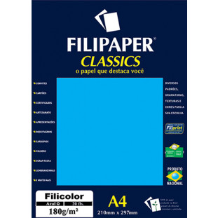 Filipaper Filicolor 180g/m² (20 folhas; azul) A4 - FP00913
