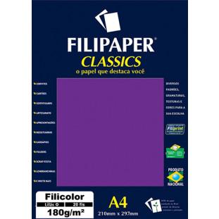Filipaper Filicolor 180g/m² (20 folhas; lilás) A4 - FRETE GRÁTIS - FP00914