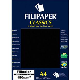 Filipaper Filicolor 180g/m² (20 folhas; preto) A4 - FRETE GRÁTIS - FP00918