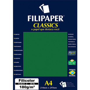 Filipaper Filicolor 180g/m² (20 folhas; verde) A4 - FRETE GRÁTIS - FP00927