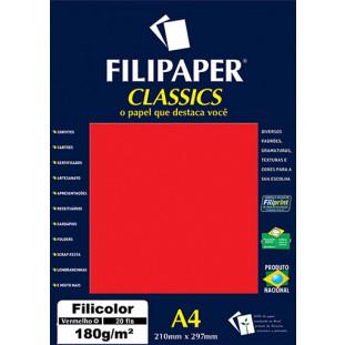Filipaper Filicolor 180g/m² (20 folhas; vermelho) A4 - FRETE GRÁTIS - FP00928