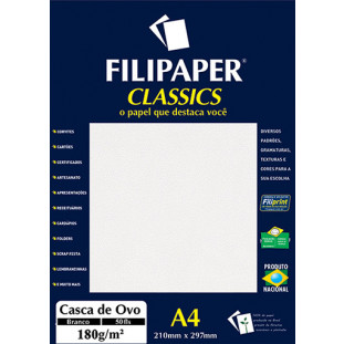 Filipaper Casca de Ovo 180g/m² (50 folhas; branco) A4 - FRETE GRÁTIS - FP00944