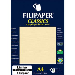 Filipaper Linho 180g/m² (50 folhas; creme) A4 - FRETE GRÁTIS - FP00971