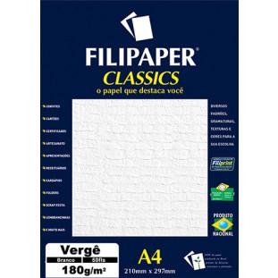 Filipaper Vergê 180g/m² (50 folhas; branco) A4 - FRETE GRÁTIS - FP00977