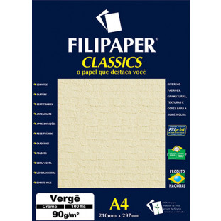Filipaper Vergê 90g/m² (100 folhas; creme) A4 - FRETE GRÁTIS - FP00980