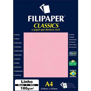 Filipaper Linho 180g/m² (50 folhas; rosa) A4 - FRETE GRÁTIS - FP00992