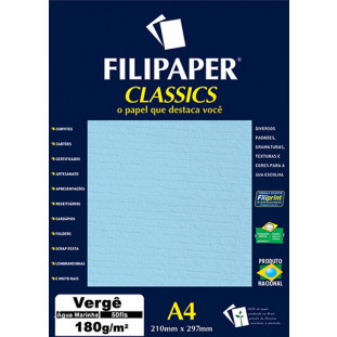 Filipaper Vergê 180g/m² (50 folhas; Água Marinha) A4 - FRETE GRÁTIS - FP00995