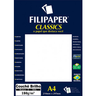 Filipaper Couchê 180g/m² (50 folhas; branco) A4 - FRETE GRÁTIS - FP01047