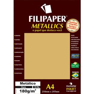 Filipaper METALLICS Ouro 180g/m² A4(15fls) - FRETE GRÁTIS - FP01100