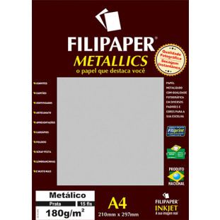 Filipaper METALLICS Prata 180g/m² A4(15fls) - FP01101
