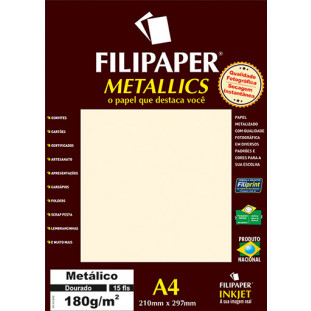 Filipaper METALLICS Dourado 180g/m² A4(15fls) - FP01102