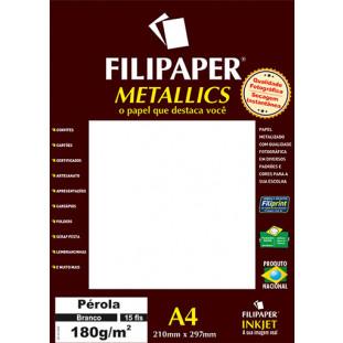 Filipaper METALLICS Pérola Branco 180g/m² A4(15fls) - FRETE GRÁTIS - FP01103