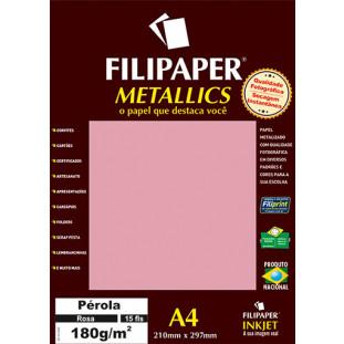 Filipaper METALLICS Perola Rosa 180g/m² A4(15fls) - FP01104