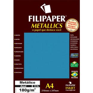 Filipaper METALLICS Azul 180g/m² A4(15fls) - FRETE GRÁTIS - FP01105
