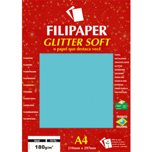 Filipaper GLITTER SOFT 180g/m² (15 folhas; Azul) A4 - FRETE GRÁTIS - FP01300