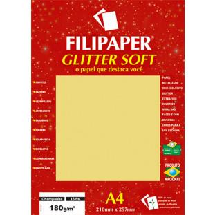Filipaper GLITTER SOFT 180g/m² (15 folhas; Champanhe) A4 - FRETE GRÁTIS - FP01301